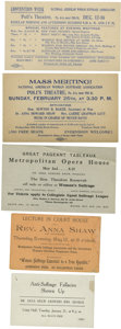 Political:Small Paper (1896-present), Woman's Suffrage: Five Anna Howard Shaw Tickets.... (Total: 5 Items)