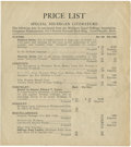 Political:Small Paper (1896-present), Woman's Suffrage: Michigan Equal Suffrage Association Items Price List....