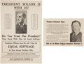 Political:Small Paper (1896-present), Woman's Suffrage: Theodore Roosevelt and Woodrow Wilson Suffrage Fliers....
