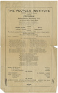Political:Small Paper (1896-present), Woman's Suffrage: The People's Institute Meeting Program....
