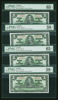 Canadian Currency: , BC-21D $1 1937. Four Examples.. ... (Total: 4 notes)