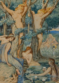 Mainstream Illustration, WALTER CRANE (British, 1845-1915). Nyads and Dryads.Watercolor on paper. 9.25 x 6.5 in.. Initialed lower left. ...