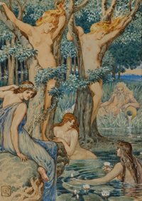 WALTER CRANE (British, 1845-1915) Nyads and Dryads Watercolor on paper 9.25 x 6.5 in. Initiale