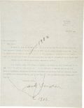 """Autographs:Authors, Jack London Typed Letter Signed. One page, 8.5"""" x 11"""", Sonoma,California, September 18, 1906. In response to an inquiry abo..."""