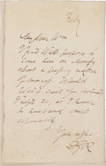 "Autographs:Authors, Dante Gabriel Rossetti Autograph Letters Signed. Two letters, onetrimmed, 4.5"" x 7.25"" and 4.5"" x 3.25"" respectively, n.p.,..."