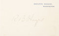 "Autographs:U.S. Presidents, Rutherford B. Hayes Signed Executive Mansion Card. One page, 4.5"" x2.75"", n.d., Washington,..."