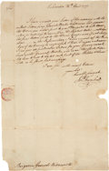"Autographs:Statesmen, Battle of Ridgefield: Jonathan Trumbull Letter Signed as Governor of Connecticut. One page, 8"" x 13"", Lebanon CT, April 26, ..."