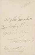 "Autographs:Celebrities, Frances E. Willard Autograph Quotation Signed. One page, 4.5"" X 7"",""New Year, 1897"", n.p.: ""Only the Golden Rule can ..."