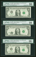Error Notes:Shifted Third Printing, Fr. 1918-E $1 1993 Federal Reserve Note. PMG Choice About Unc 58 & 58 EPQ (2).. ... (Total: 3 notes)