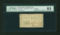 Colonial Notes:New Jersey, New Jersey December 31, 1763 1s PMG Choice Uncirculated 64....