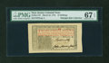 Colonial Notes:New Jersey, New Jersey March 25, 1776 12s John Hart PMG Superb Gem Unc 67 EPQ....