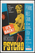 """Movie Posters:Hitchcock, Psycho (Paramount, R-1965). One Sheet (27"""" X 41""""). Hitchcock.. ..."""