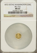 California Fractional Gold, 1872 25C Washington Octagonal 25 Cents, BG-722, Low R.4, MS62NGC....