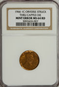 Errors, 1966 1C Lincoln Cent Obverse Struck Thru Capped Die MS64 Red NGC.NGC Census: (0/0). PCGS Population (67/357). Numismedia ...