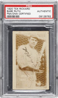 "Autographs:Sports Cards, 1920 Babe Ruth Signed Tex Rickard ""Headin' Home"" Card...."