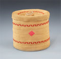 American Indian Art:Baskets, AN ATTU POLYCHROME TWINED JAR . c. 1885... (Total: 2 Items)