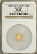 California Fractional Gold: , 1870 50C Liberty Round 50 Cents, BG-1010, R.3, MS63 NGC. NGCCensus: (2/6). PCGS Population (27/58). (#10839)...