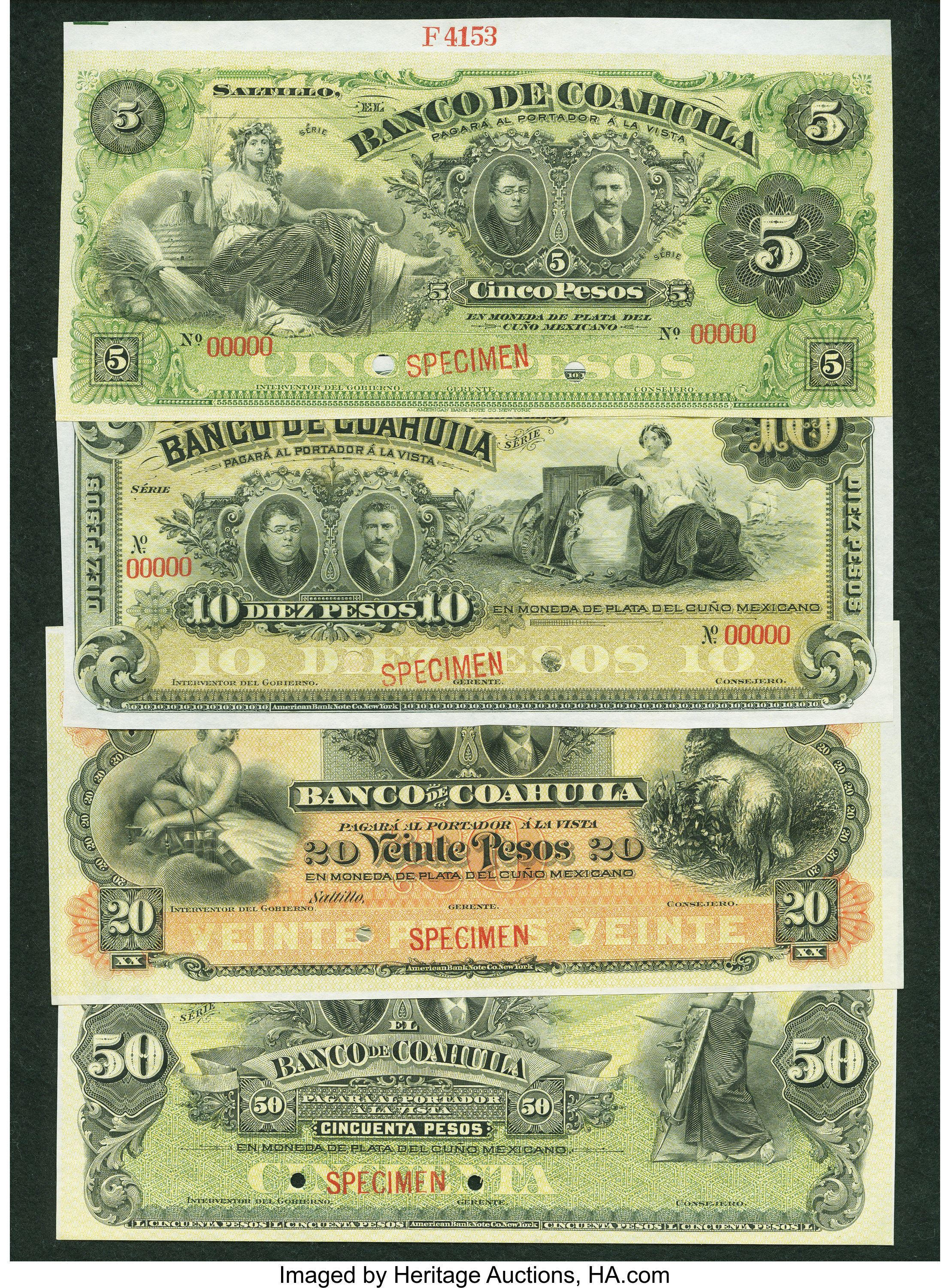 Set of 4 Different Bank Note from Mexico