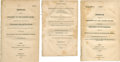 """Miscellaneous:Ephemera, Group of Three Imprints, dated 1814, 1822, and 1824, containing""""Message[s] from the President"""", concerningFlorida,..."""