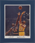 Basketball Collectibles:Others, Wilt Chamberlain and Willis Reed Signed Photograph. ...