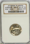 Errors, ND 5C Jefferson Nickels Broadstruck With Obverse Indent MS67 FullSteps NGC. NGC Census: (3/0). PCGS Population (6/0). (#...