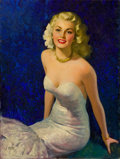 Pin-up and Glamour Art, ANDREW LOOMIS (American, 1892-1959). Blond in White EveningDress. Oil on canvas. 32 x 24 in.. Signed lower left. ...
