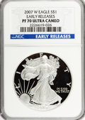 Modern Bullion Coins, 2007-W $1 Silver Eagle Early Releases PR70 Ultra Cameo NGC. PCGSPopulation (925/0). (#149572)...
