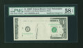 Error Notes:Missing Face Printing (<100%), Fr. 1907-C $1 1969D Federal Reserve Note. PMG Choice About Unc 58EPQ.. ...