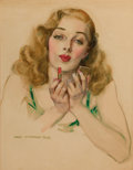 Pin-up and Glamour Art, JAMES MONTGOMERY FLAGG (American, 1877-1960). Glamour Girl withLipstick, c. 1930. Watercolor on paper. 23 x 17 in.. Sig...