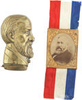 Political:Miscellaneous Political, Benjamin Harrison: Exceptional Brass Match Safe and Portrait Badge.... (Total: 2 Items)