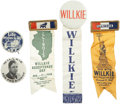 Political:Pinback Buttons (1896-present), Wendell Willkie: Lot of Five 1940 Presidential Campaign Pinback Buttons and Ribbons.... (Total: 5 Items)