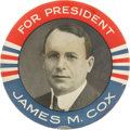 Political:Pinback Buttons (1896-present), James M. Cox: Rare Giant Portrait Button....