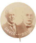 "Political:Pinback Buttons (1896-present), Davis & Bryan: Profoundly Rare and Important 1¼"" JugateButton...."