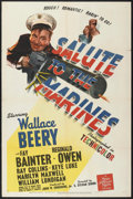 "Movie Posters:War, Salute to the Marines (MGM, 1943). One Sheet (27"" X 41"") Style C.War.. ..."