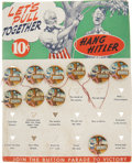 Political:Pinback Buttons (1896-present), Uncle Sam Hanging Hitler: Original Store Display Card of MechanicalButtons.... (Total: 10 Items)