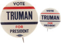 Political:Pinback Buttons (1896-present), Harry S Truman: Outstanding Pair of Philadelphia Badge Designs.... (Total: 2 Items)