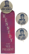 Political:Pinback Buttons (1896-present), John F. Kennedy: Wonderful Trio of 1956 V.P. Buttons. ... (Total: 3Items)