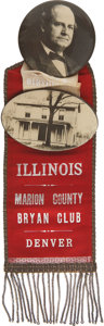 Political:Ribbons & Badges, William Jennings Bryan: Dramatic Large Illinois Badge from the 1908 Democratic Convention. ...