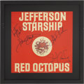 Music Memorabilia:Autographs and Signed Items, Jefferson Starship Band-Signed Red Octopus Album Cover....