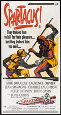 "Movie Posters:Adventure, Spartacus (Universal International, R-1967). Three Sheet (41"" X81""). Adventure.. ..."