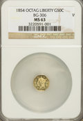California Fractional Gold: , 1854 50C Liberty Octagonal 50 Cents, BG-306, R.4, MS63 NGC. NGCCensus: (0/7). PCGS Population (23/18). (#10426)...