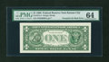 Error Notes:Third Printing on Reverse, Fr. 1914-J $1 1988 Federal Reserve Note. PMG Choice Uncirculated 64.. ...