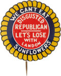 """Political:Pinback Buttons (1896-present), Anti-Alf Landon: One Of The Best """"Anti-Candidate"""" Button Designs...."""