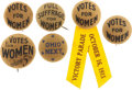 Political:Miscellaneous Political, Woman's Suffrage: Nice Group of Gold-Background Pinback Buttons. ... (Total: 6 Items)