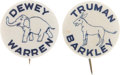 """Political:Pinback Buttons (1896-present), Truman and Dewey: Scarce Pair of 1¼"""" 1948 Campaign Celluloids.... (Total: 2 Items)"""