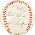 Autographs:Baseballs, 1950's Gil Hodges Single Signed Baseball....