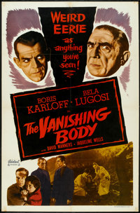 """The Black Cat (Realart, R-1953). One Sheet (27"""" X 41""""). Horror. Re-released as The Vanishing Body"""