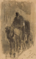 Fine Art - Painting, American:Antique  (Pre 1900), CHARLES GREEN BUSH (American, 1842-1909). Rider on aCarriage, 1879. Mixed media on linen. 11-1/4 x 7 inches (28.6 x17....