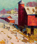 Fine Art - Painting, American:Modern  (1900 1949)  , GEORGE HERBERT BAKER (American, 1878-1943). The Red Barn inWinter. Oil on canvas. 22 x 18 inches (55.9 x 45.7 cm). Sign...
