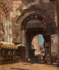 Fine Art - Painting, American:Modern  (1900 1949)  , GEORGE YEWELL (American, 1830-1923). Bab Zuweyleh, Cairo,Egypt. Oil on canvas laid on canvas. 12-1/2 x 10 inches (31.8...